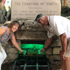 Filling our cups at the Fountain of Youth